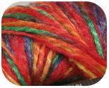 Пряжа RAMINA, фактура - вискоза, шерсть, ленточная, красно-зелено-желтая