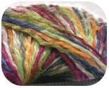 Пряжа RAMINA, фактура - вискоза, шерсть, ленточная, салатово-сине-бордовая